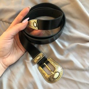 NWOT Zara Western Gold Metal-Tip Black Belt
